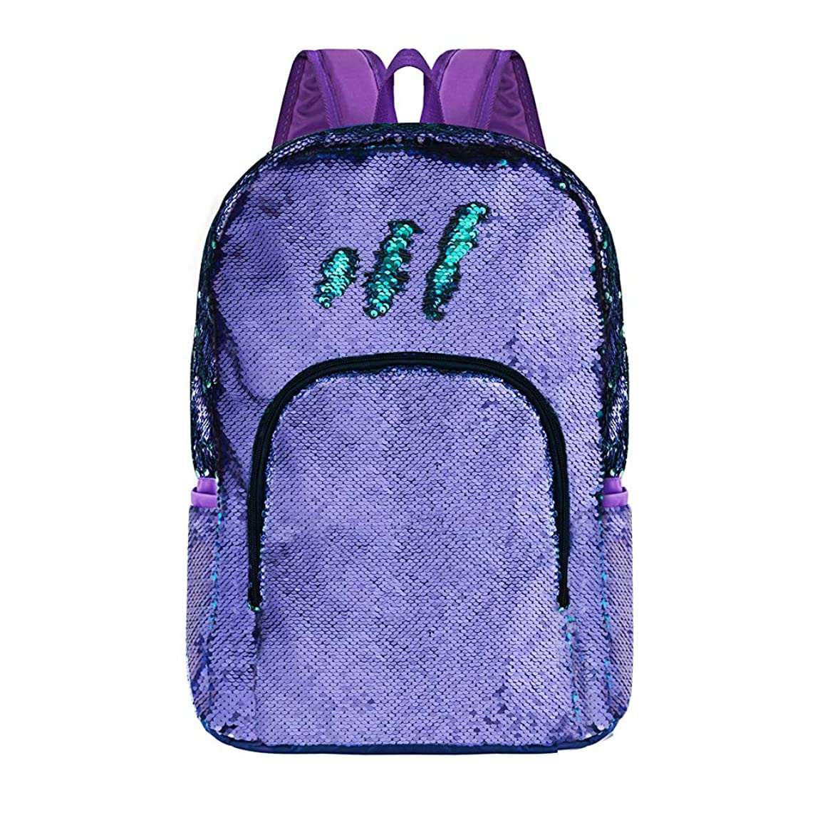 Purple Reversible Sequence Backpack Lightweight Sequin Bookbag Sparkly Back Pack