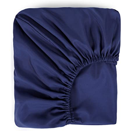 """TILLYOU Silky Soft Microfiber Fitted Crib Sheet for Baby Boys Girls, Anti-Pill Breathable Mattress Cover for Toddler Bed, PremiumCozyNursery Bedding Sheet, Standard 28""""x52""""x8"""", Navy Blue"""
