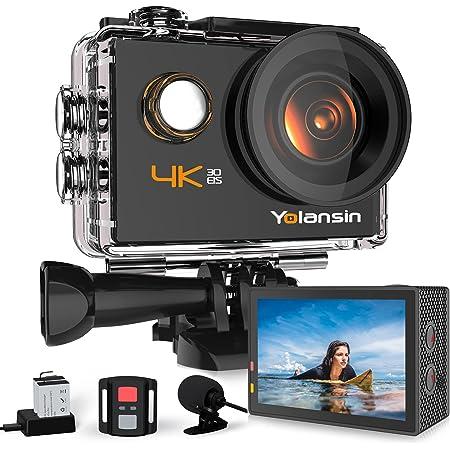 Yolansin Caméra Sport 4K WiFi, Action Caméra sous-Marine 40 m, Caméra d'Action Super EIS avec Grand Angle, 2,4 G Télécommande sans Fil, 2 Batteries et Kit d'Accessoires