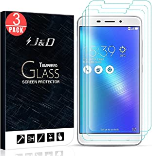 J&D Compatible for 3-Pack ZenFone 3 Laser Glass Screen Protector, [Tempered Glass] [Not Full Coverage] HD Clear Ballistic Glass Screen Protector for ASUS ZenFone 3 Laser Screen Protector