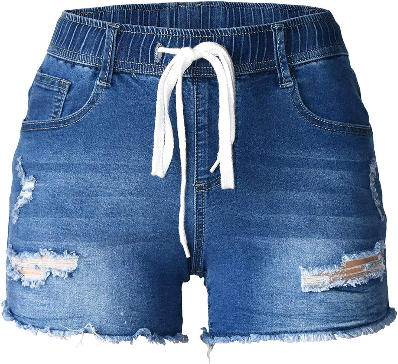 Atditama Women's Sexy Butt Lift Dark & Light Blue Patched Patchwork Jeans Summer Beach Casual Short Denim Shorts