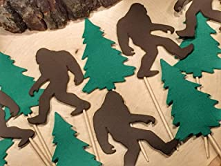 Large Bigfoot and Evergreen Tree Cupcake Toppers - Sasquatch Food Picks - Party Picks - (Set of 12)