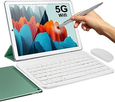 5G Tablet 10 Pulgadas 4GB de RAM 64GB de ROM Android 10 Certificado por Google GMS 1.6Ghz Tablet PC Baratas y Buenas 6000mAh Dual Cámara Bluetooth GPS Tableta WiFi Versión con Teclado y Mouse(Verde)