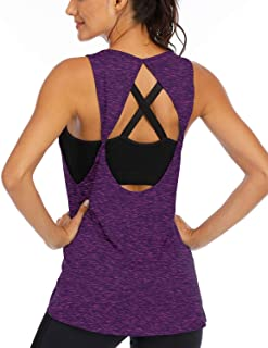 Fihapyli Women's Twist Open Back Sports Gym Tank Tops Yoga Shirts Activewear Sleeveless Workout Tops