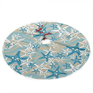 SWEET-YZ Christmas Tree Skirt Starfish 35.5