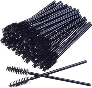 H HOME-MART 100 PCS Black Disposable Eyelash Brushes Mascara Wands Eye Lash Eyebrow Applicator Cosmetic Makeup Brush Tool ...
