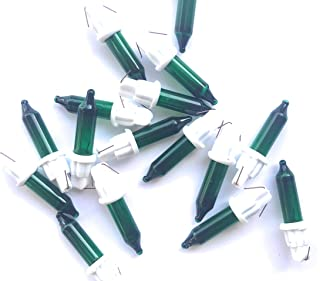 50 Replacement Christmas Mini Light Bulbs - 6 Volts - Green Mini Bulbs on White Base
