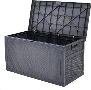 Superday Patio Deck Box Outdoor Storage Decorative Wicker Pattern Garden Furniture Rattan Container Cabinet 120 Gallon Dark Grey