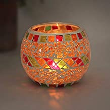 FRCOLOR Mosaic Candle Holder, Glass Tea Light Holder Romantic Glass Tealight Holder for Aromatherapy Also Used As Vase Pen...
