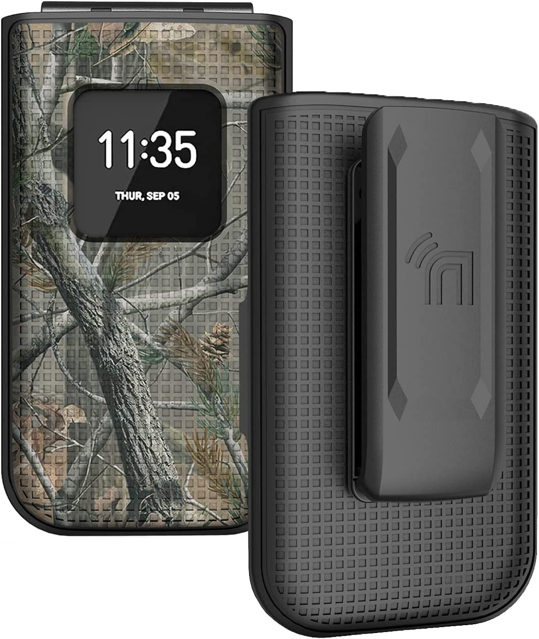 Case with Clip for Nokia 2720 V Flip Phone, Nakedcellphone [Outdoor Camouflage] Tree Leaf Real Woods Camo Cover with [Rotating/Ratchet] Belt Hip Holster Holder for Verizon TA-1295
