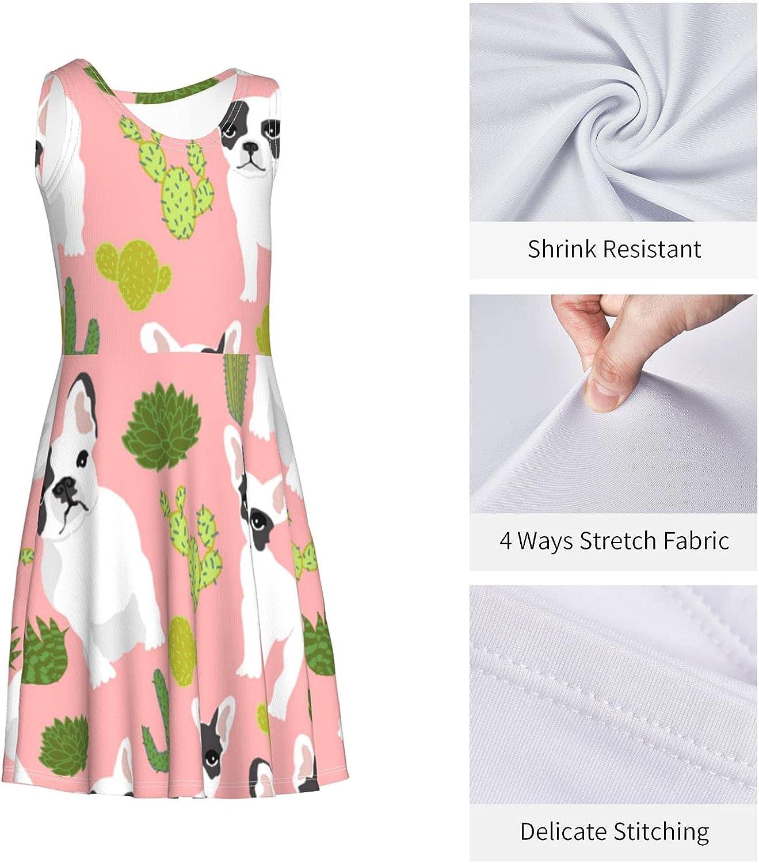 YhrYUGFgf French Bulldog Cactus Dress Girl's Fashion Printing Casual Skirt Tank Dress