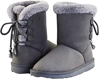 LULEX Boys Girls Plush Snow Boots Outdoor Winter Shoes for Little Kid