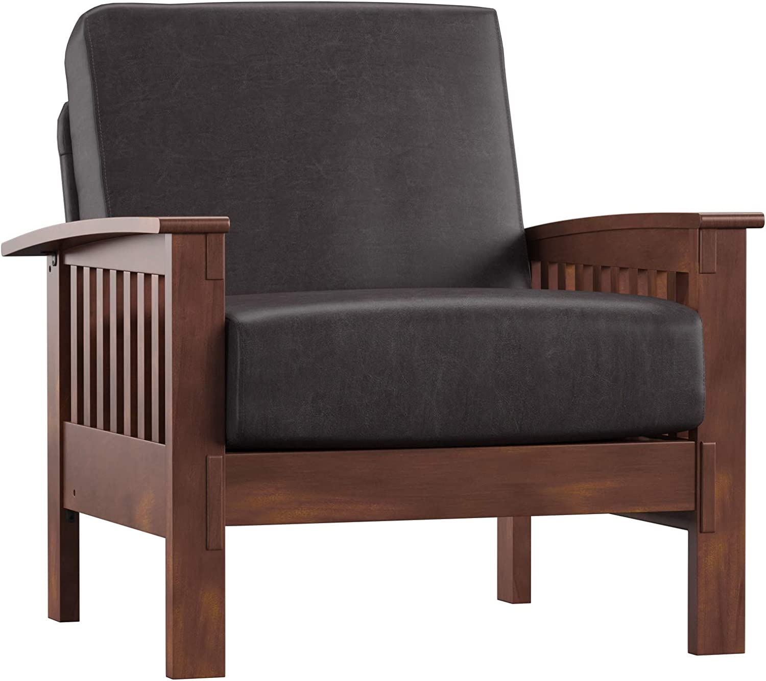 Union 5 Home Easton Dark Brown Attention brand Accent Safety and trust Mission-Style Faux Leather