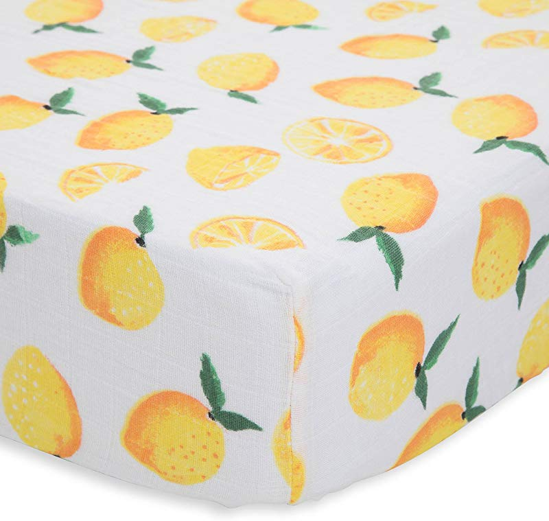 Little Unicorn Cotton Muslin Crib Sheet Lemon