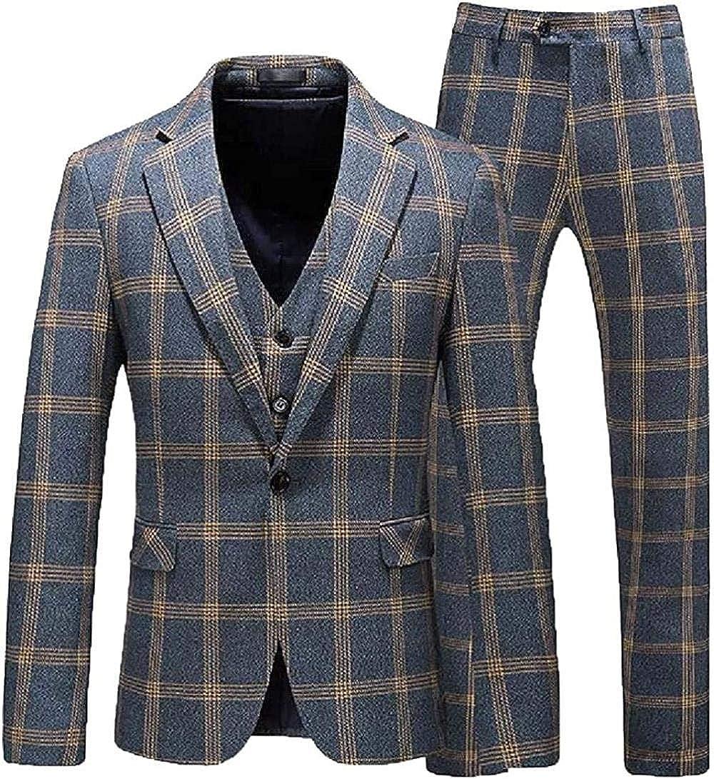 Mens Vest Notched Lapel Jacket 3 Pieces Sport Coat Plaid Pants Suit Sets