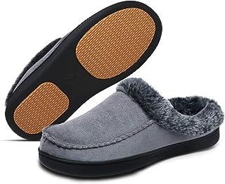 Mishansha Men's Slippers Warm Memory Foam Winter House Shoes Indoor Outdoor Warm Anti-Slip