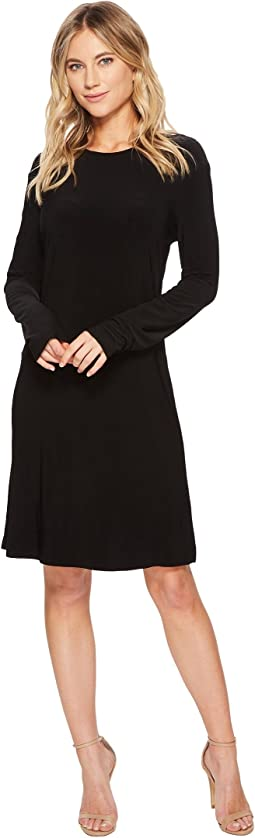 KAMALIKULTURE by Norma Kamali Long Sleeve Crew Dress To Knee