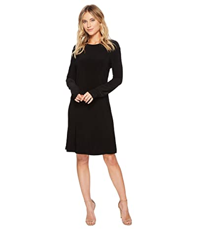 KAMALIKULTURE by Norma Kamali Long Sleeve Crew Dress To Knee (Black) Women