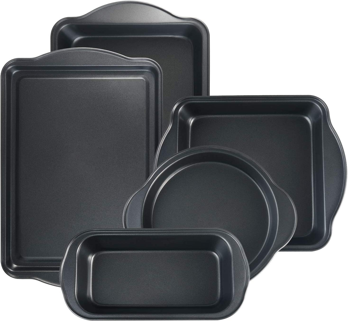 S·KITCHN Bakeware Set with Grips Nonstick Baking Set Including Loaf Pan Pie Pan Roasting Pan Cookie Sheet and Brownie Pan - 5 Piece
