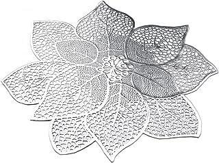 Juego de 6 manteles individuales, lavables, para mesa de cocina, diseño de flores, resistentes al agua, con aislamiento térmico, posavasos, plástico, plata, 40 x 40 cm