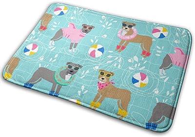 """Pitbull Pool Party Pink Dog Breed Light Blue_27373 Doormat Entrance Mat Floor Mat Rug Indoor/Outdoor/Front Door/Bathroom Mats Rubber Non Slip 23.6"""" X 15.8"""""""