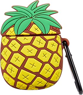 Gift-Hero Compatible with Airpods 1&2 Case,Cute Cartoon Character Soft Silicone Airpod Cover, 3D Funny Kawaii Fun Cool Design Skin Designer Fashion Cases for Girls Kids Teens Boys Air pods(Pineapple)
