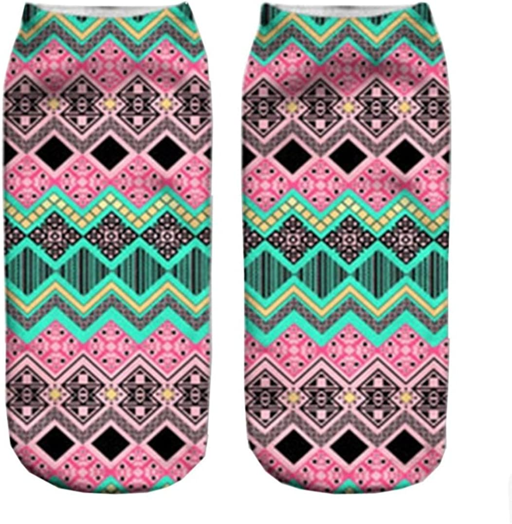 Doxi Funny Sock Aztec Pink Cartoon Animal Print For Woman Man Boy Girl Free Size