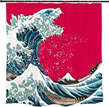 Ofat Home Japanese Godzilla and The Great Wave Off Kanagawa Shower Curtains with Hooks for Bathroom Decor, No Liner Needed...