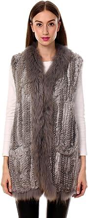 Ferand - Gilet Giacca Lunga Senza Maniche Inverno In Vera Pelliccia di Coniglio con Collare In Pelliccia di Procione - Donna