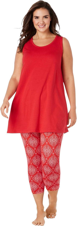 Dreams & Co. Women's Plus Size Scoopneck Tank & Capri Legging Pj Set Pajamas