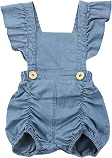 Calsunbaby Infant Baby Girls One Piece Short Sleeve Ripped Demin Jeans Ruffle Romper Sunsuit Outfits Jumpsuit
