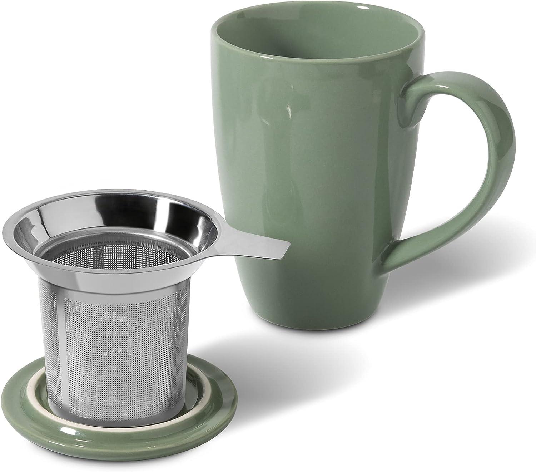 ComSaf Ceramic Tea Mug with Infuser and 16 Porcela Cheap Max 45% OFF mail order shopping OZ Large Lid