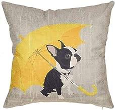 SLS Boston Terrier with Yellow Umbrella Dog Lover Gift Cotton Linen Decorative Throw Pillow Case Cushion Cover Lion Piillow case 18 X18 Throw Pillow Cover