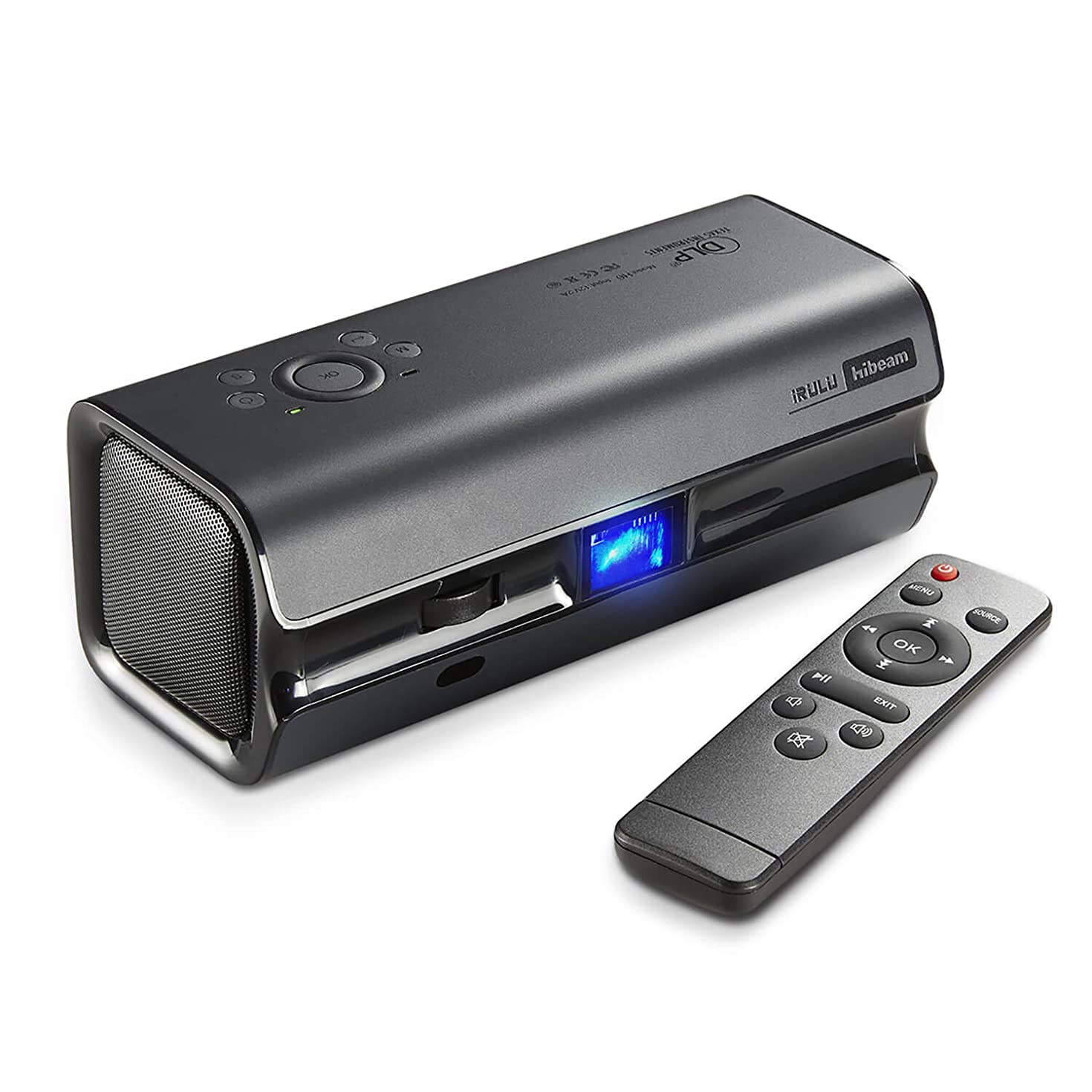 iRULU H6 DLP Portable Video Projector, Full HD 1080P HDMI Multimedia Projectors, Support 15''-120'' Projection Screen for Home Theater Movie Cinema Entertainment