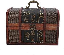 Pudełko do przechowywania biżuterii w stylu vintage, drewniane pudełko do przechowywania z metalowym zamkiem organizer na ...
