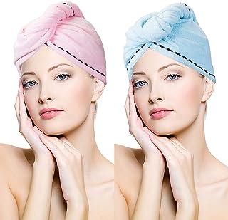 Toalla de microfibra para el cabello de secado rápido, toalla de pelo con botón, secado rápido, muy absorbente para pelo largo y rizado, antiencrespamiento [2 unidades], Azul+Rosa