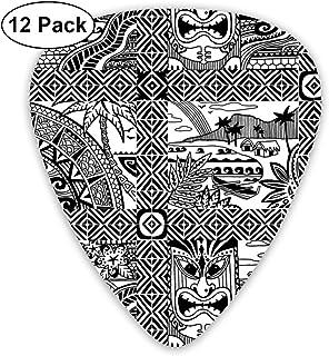 Hawaiian Village Black-n-white Colorway_2741 Classic Celluloid Picks, 12-Pack,