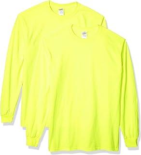 Gildan Men's Ultra Cotton Long Sleeve T-Shirt, Style G2400, 2-Pack, Safety Green, Medium