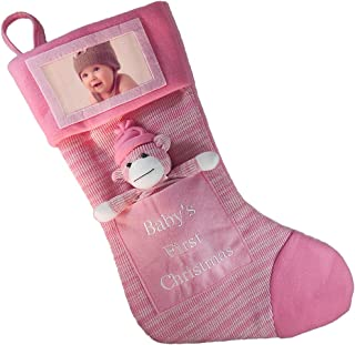 Baby's First Christmas Stocking; Baby Girl Stocking with Removable Soft Toy; with Picture Frame - Personalize it with Baby's Picture! (Pink)