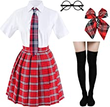 Japanese Tartan Pleated School Uniform Cosplay Costumes with Socks Eyeglass Frame Set