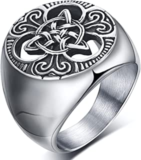 enhong Mens Celtic Knot Signet Rings Round Vintage Stainless Steel Ring for Biker Size 7 8 9 10 11 12 13 14 15