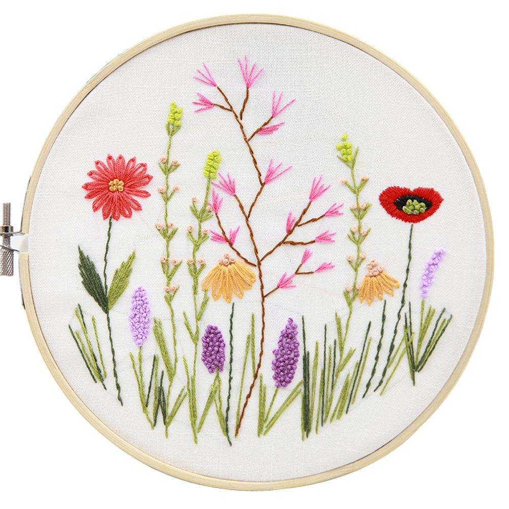 Bamboo Embroidery Hoop Full Range of Embroidery Starter Kit with Pattern Kit 1 Color Threads and Tools Kit SevFan Cross Stitch Kit Including Embroidery Cloth with Pattern