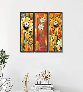 Go Hooked Digital Printed Framed Floral Wall Painting for Living Room, Bedroom, Office, Hotel, Dining Room, Bar etc. (Set ...