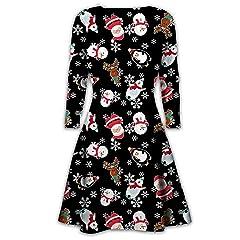 FIRMON Womens Christmas Xmas Long Hoodie Sweatshirt,Ladies Slim Reindeer Snowflake Letter Print Short Dress Tops Blouse Black S