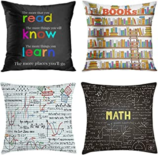 Emvency Set of 4 Throw Pillow Covers and Classroom Mathematics Teacher Read Colorful Elementary Bookstore Doodle Decorative Pillow Cases Home Decor Square 20x20 Inches Pillowcases