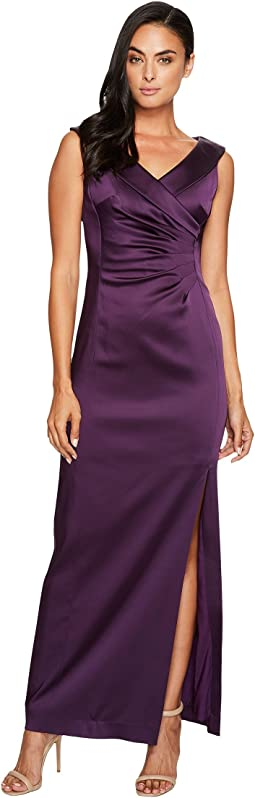 Tahari by ASL - Stretch Satin Gown with Side Ruche
