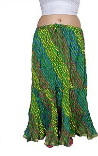 kastiel Leheriya Long Skirt Green Skirt