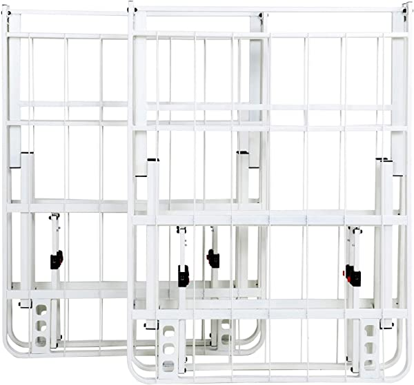 IntelliBASE Lightweight Easy Set Up Bifold Platform White Metal Bed Frame King