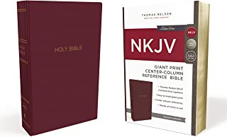 NKJV, Reference Bible, Center-Column Giant Print, Leather-Look, Burgundy, Red Letter Edition, Comfort Print: Holy Bible, New King James Version