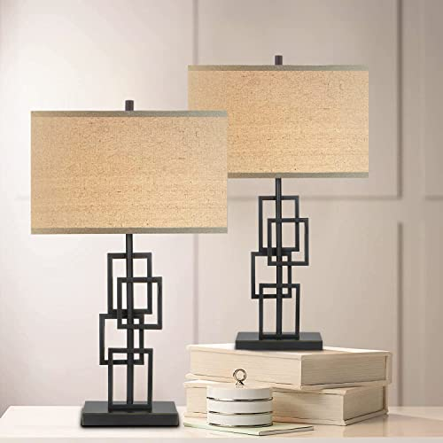"""lowest Hykolity Console Table Lamps Set online sale of 2, End Table Nightstand Bedside Light for Living Room Bedroom, 26.5"""" Side Table Lamp with Oatmeal Fabric Shade, Stacked Rectangle Oil-Rubbed Bronze online Metal Base online"""